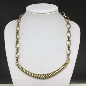 Chico's Antiqued Gold Tone Chain Link Necklace